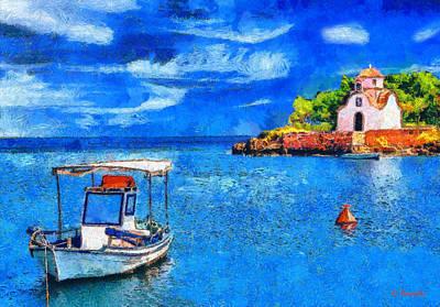Boat Painting - Gythio Mani by George Rossidis