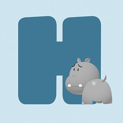 Hippopotamus Digital Art - H by Gina Dsgn