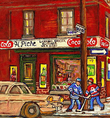 H. Piche Grocery - Goosevillage -paintings Of Montreal History- Neighborhood Boys Play Street Hockey Print by Carole Spandau