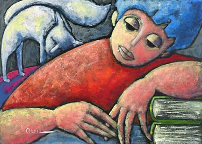 Haciendo Tareas En Mi Cuarto Print by Oscar Ortiz
