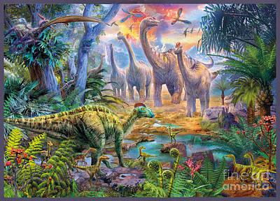 T-rex Digital Art - Dino Waterhole by Jan Patrik Krasny