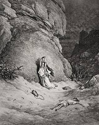 Desert Drawing - Hagar And Ishmael In The Desert by Gustave Dore