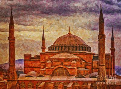 Hagia Sophia Digital Painting Print by Antony McAulay