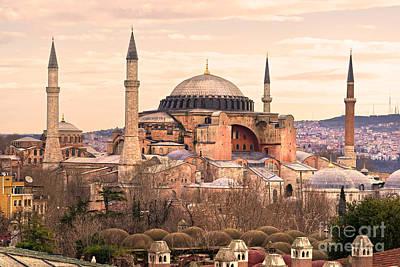 Hagia Sophia Mosque - Istanbul Print by Luciano Mortula