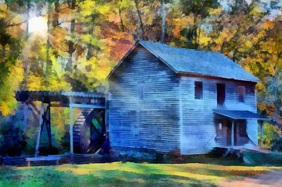 Grist Mill Painting - Hagood Mill With Sunrays by Lynne Jenkins