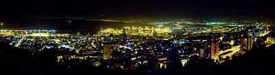 City Photograph - Haifa Bay - Night Panorama by Nadya Ost