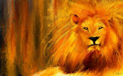 Abstract Wildlife Painting - Hail The King by Lourry Legarde