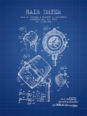 Salon Digital Art - Hair Dryer Patent From 1960 - Blueprint by Aged Pixel