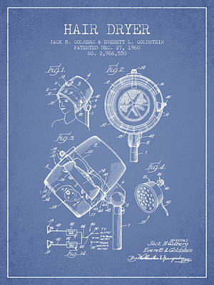 Salon Digital Art - Hair Dryer Patent From 1960 - Light Blue by Aged Pixel