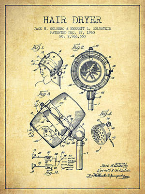 Salon Digital Art - Hair Dryer Patent From 1960 - Vintage by Aged Pixel