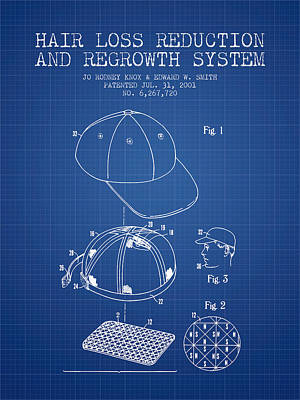 Baseball Art Drawing - Hair Loss Reduction And Regrowth System Patent - Blueprint by Aged Pixel