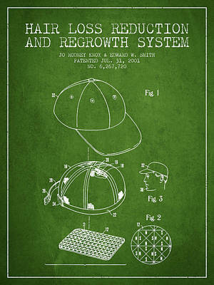 Baseball Art Drawing - Hair Loss Reduction And Regrowth System Patent - Green by Aged Pixel