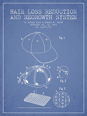 Baseball Art Drawing - Hair Loss Reduction And Regrowth System Patent - Light Blue by Aged Pixel
