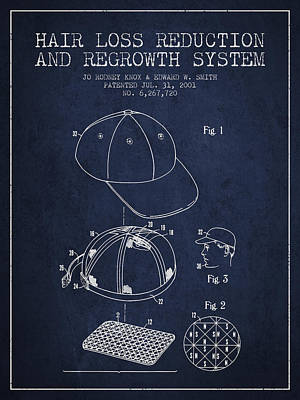 Baseball Art Drawing - Hair Loss Reduction And Regrowth System Patent - Navy Blue by Aged Pixel