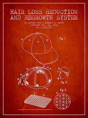 Baseball Art Drawing - Hair Loss Reduction And Regrowth System Patent - Red by Aged Pixel