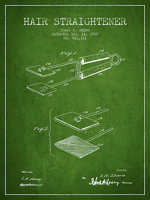 Iron Drawing - Hair Straightener Patent From 1909 - Green by Aged Pixel