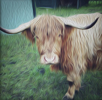 Standing Digital Art - Hairy Cow by Les Cunliffe