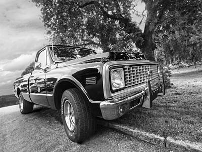 Halcyon Days - 1971 Chevy Pickup Bw Print by Gill Billington