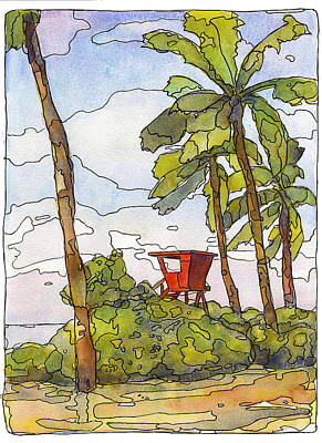 Mango Mixed Media - Haleiwa Lifeguard Tower 1 by Stacy Vosberg