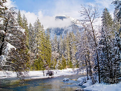 Half Dome And The Merced River Print by Bill Gallagher