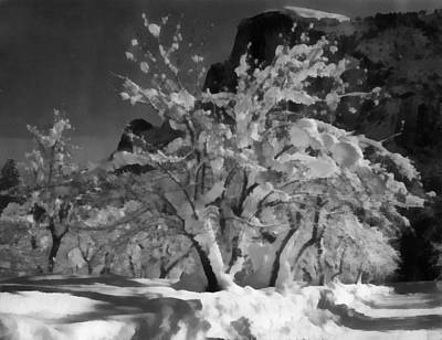 Snow Covered Trees Digital Art - Half Dome Apple Orchard by Ansel Adams