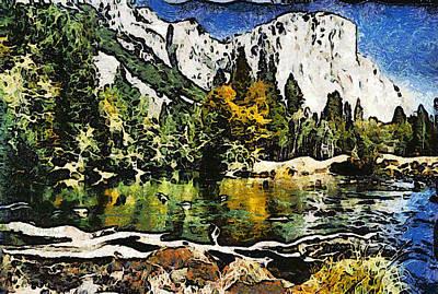 Half Dome At Yosemite Abstract Print by Barbara Snyder