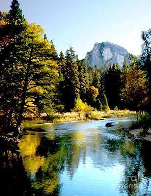 Yosemite National Park Mixed Media - Half Dome Yosemite River Valley by Bob and Nadine Johnston