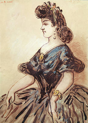 Femme Photograph - Half Length Portrait Of A Woman Wc And Ink On Paper by Constantin Guys