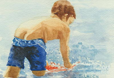 Water Play Painting - Half Moon by Sandy Linden