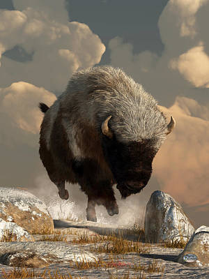 Western Themed Digital Art - Half White Bison by Daniel Eskridge