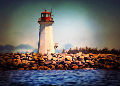Atlantic Ocean Mixed Media - Halifax Lighthouse Nova Scotia by Georgiana Romanovna