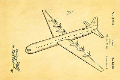 Airplane Photograph - Hall Xc 99 Airplane Patent Art 1945 by Ian Monk