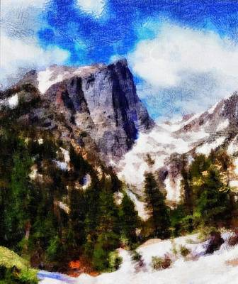 Mountain Mixed Media - Hallett Peak In Spring by Dan Sproul