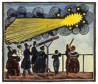 Halley's Comet, 19th Century Artwork Print by Science Photo Library