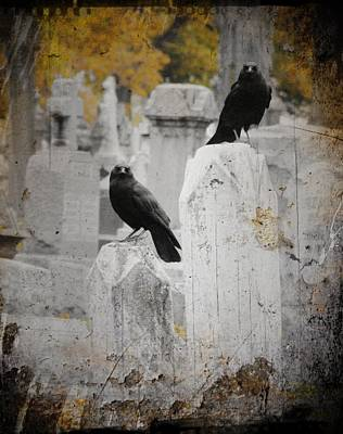 Ravens In Graveyard Photograph - Halloween Air by Gothicrow Images