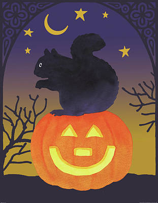 Squirrel Painting - Halloween Critter Iv by Beth Grove