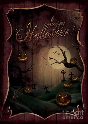 Haunted Digital Art - Halloween Design - Pumpkins Theatre by Mythja  Photography
