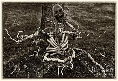 Halloween Green Skeleton Black And White Print by Iris Richardson