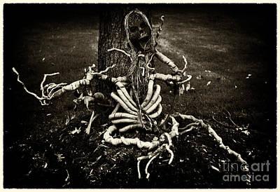 Halloween Green Skeleton Vinette Black And White Print by Iris Richardson
