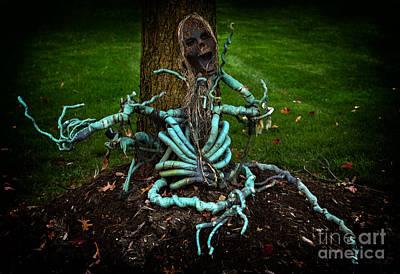 Halloween Green Skeleton Vinette Print by Iris Richardson