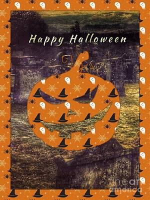 Ghostly Card Mixed Media - Halloween Greeting 3 by Joan-Violet Stretch
