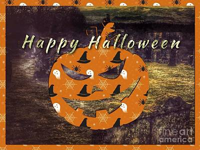 Ghostly Card Mixed Media - Halloween Greetings by Joan-Violet Stretch