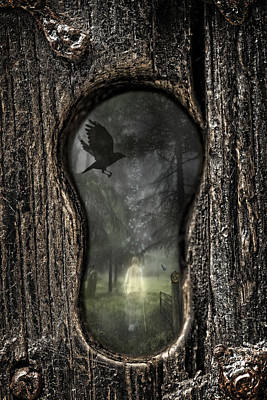 Tree Spirit Photograph - Halloween Keyhole by Amanda Elwell
