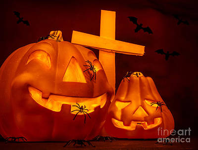Flying Spider Photograph - Halloween On Cemetery by Anna Omelchenko