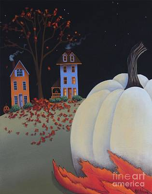 Halloween On Pumpkin Hill Print by Catherine Holman