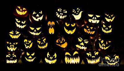 Halloween Pumpkin Faces Print by Tim Gainey