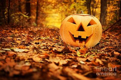 Festive Photograph - Halloween Pumpkin In Autumn Forest by Michal Bednarek