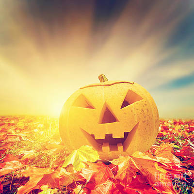 Haunted Photograph - Halloween Pumpkin In Fall Autumn Leaves by Michal Bednarek