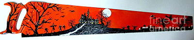 Haunted House Painting - Halloween Painted Saw by Jeffrey Koss