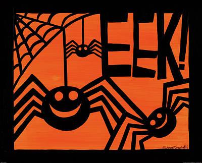 Spider Painting - Halloween Silhouette Iv by Anne Tavoletti